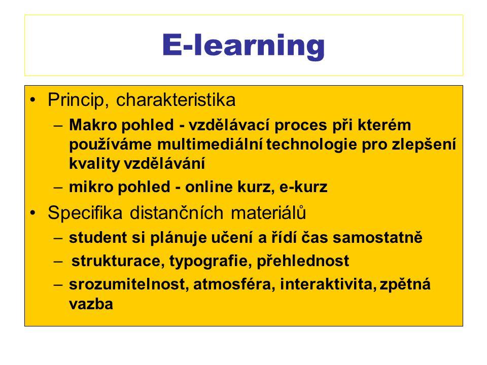 E-learning Princip, charakteristika –Makro pohled - vzdělávací proces při kterém používáme multimediální technologie pro zlepšení kvality vzdělávání –