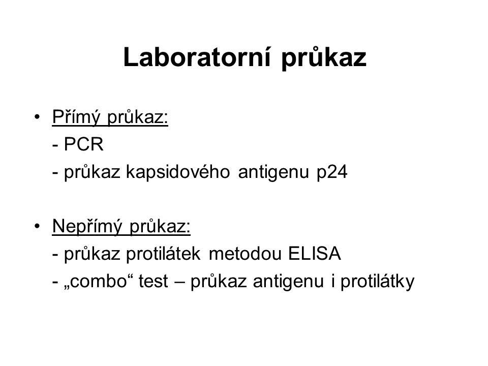 """Laboratorní průkaz Přímý průkaz: - PCR - průkaz kapsidového antigenu p24 Nepřímý průkaz: - průkaz protilátek metodou ELISA - """"combo test – průkaz antigenu i protilátky"""