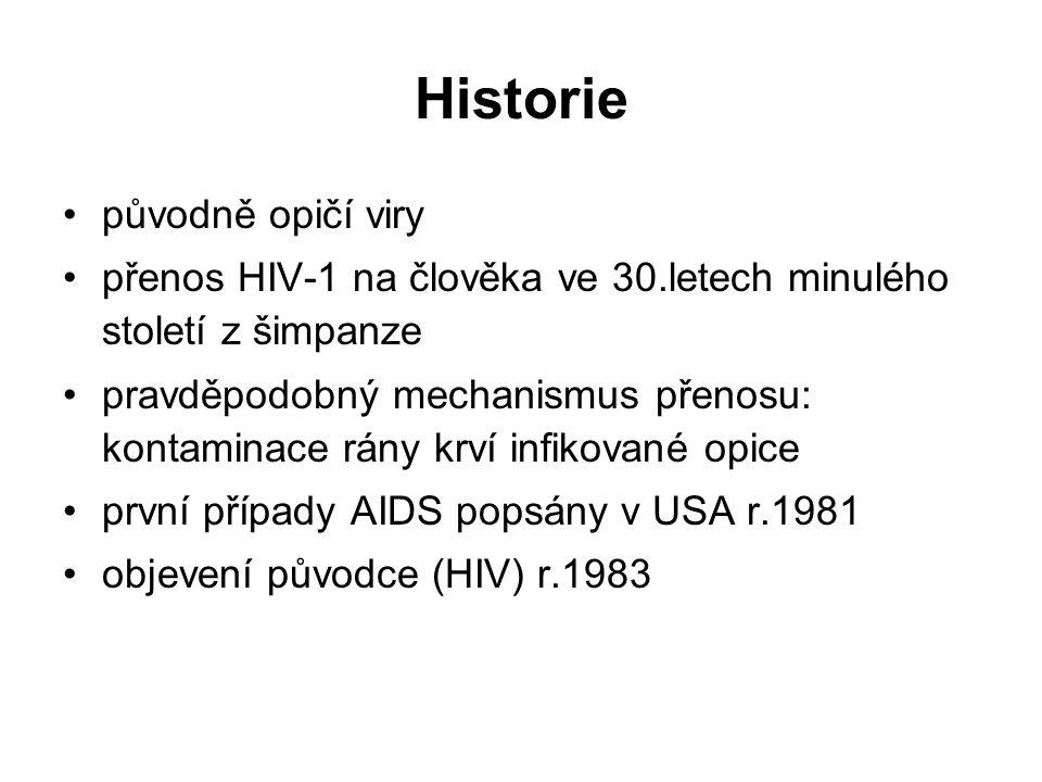 Historie původně opičí viry přenos HIV-1 na člověka ve 30.letech minulého století z šimpanze pravděpodobný mechanismus přenosu: kontaminace rány krví infikované opice první případy AIDS popsány v USA r.1981 objevení původce (HIV) r.1983