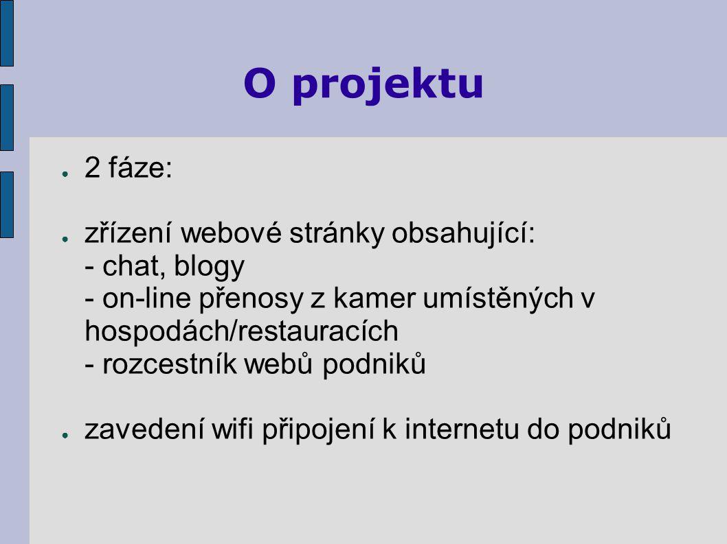 O projektu ● 2 fáze: ● zřízení webové stránky obsahující: - chat, blogy - on-line přenosy z kamer umístěných v hospodách/restauracích - rozcestník webů podniků ● zavedení wifi připojení k internetu do podniků