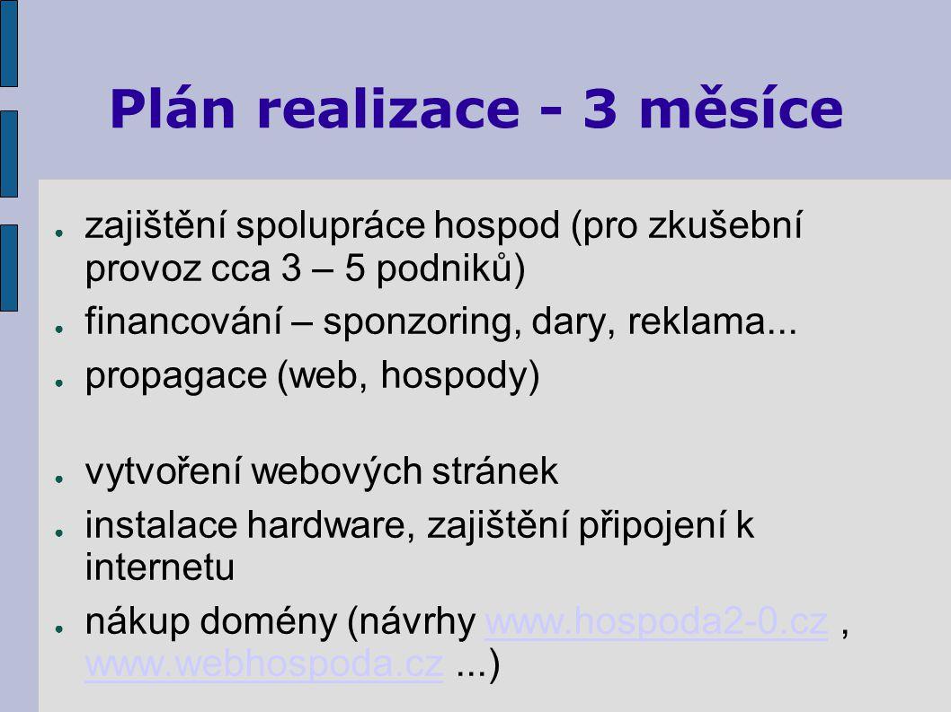 Plán realizace - 3 měsíce ● zajištění spolupráce hospod (pro zkušební provoz cca 3 – 5 podniků) ● financování – sponzoring, dary, reklama...