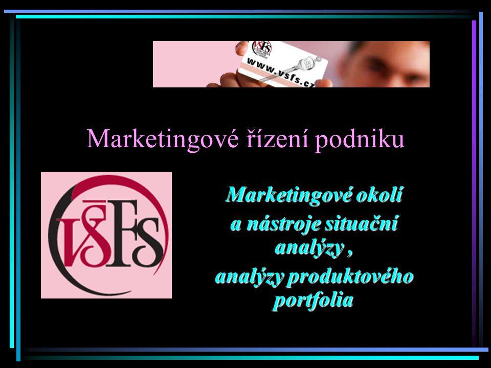 Marketingové řízení podniku Marketingové okolí a nástroje situační analýzy, analýzy produktového portfolia