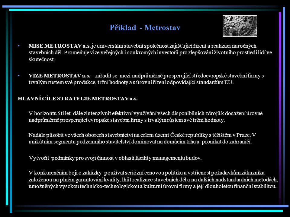 Příklad - Metrostav MISE METROSTAV a.s.