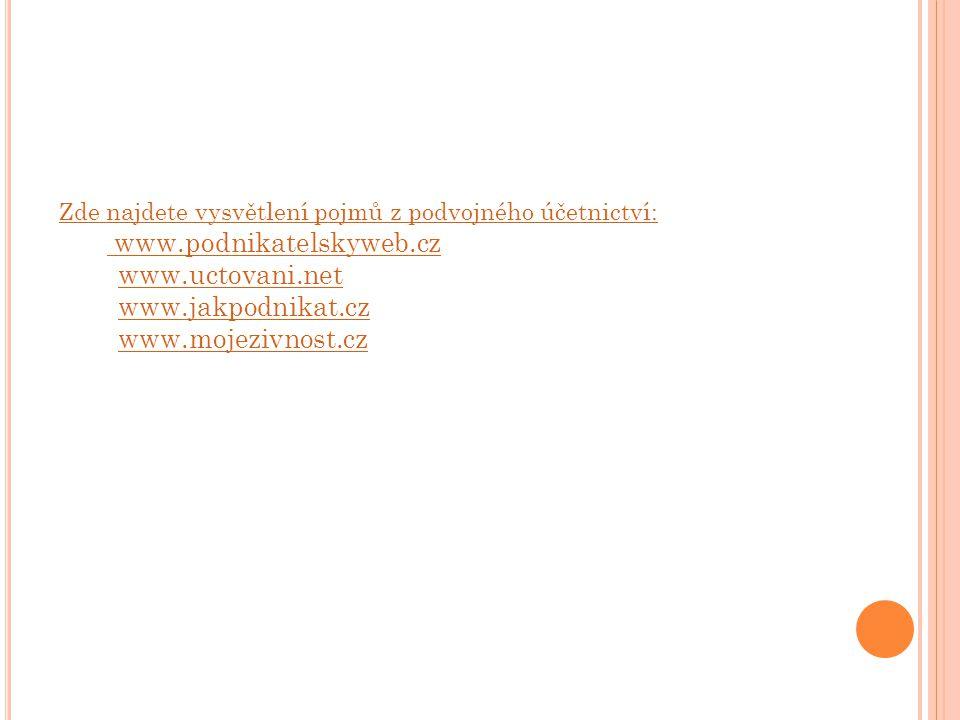 PRACOVNÍ LIST: Na internetových odkazech vyhledejte výše uvedené pojmy.