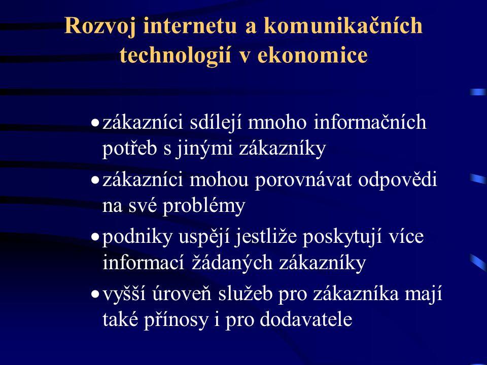 Rozvoj internetu a komunikačních technologií v ekonomice  zákazníci sdílejí mnoho informačních potřeb s jinými zákazníky  zákazníci mohou porovnávat