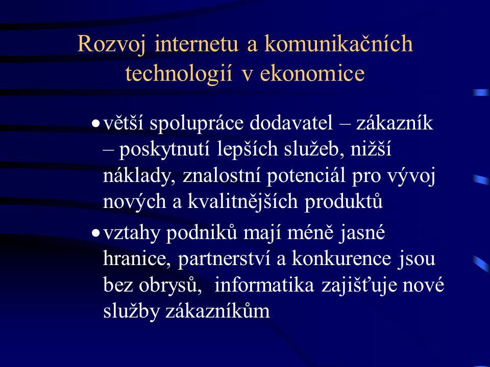 Rozvoj internetu a komunikačních technologií v ekonomice  větší spolupráce dodavatel – zákazník – poskytnutí lepších služeb, nižší náklady, znalostní