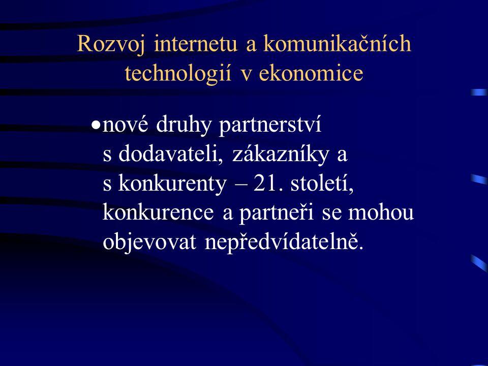 Rozvoj internetu a komunikačních technologií v ekonomice  nové druhy partnerství s dodavateli, zákazníky a s konkurenty – 21. století, konkurence a p