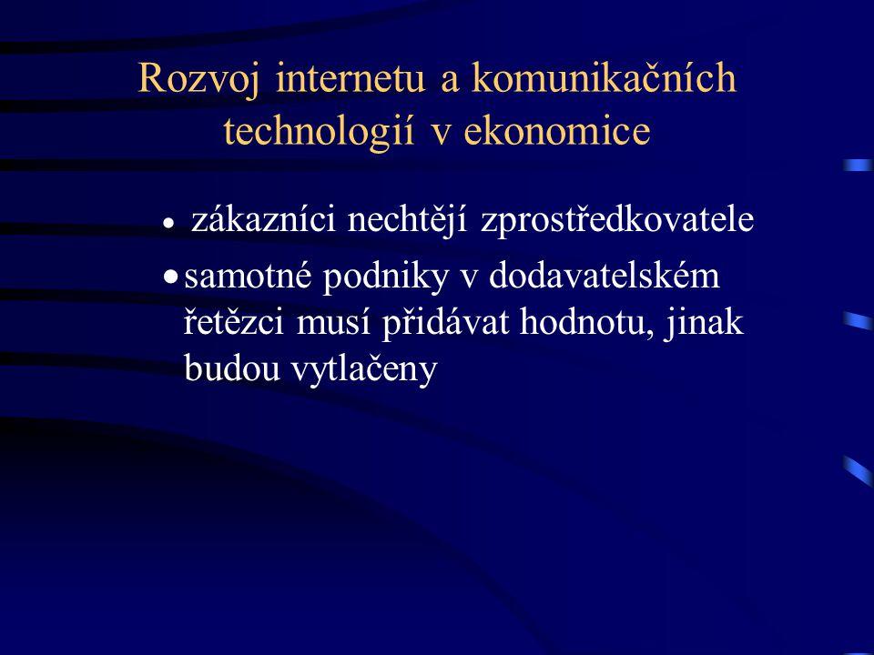 Rozvoj internetu a komunikačních technologií v ekonomice  zákazníci nechtějí zprostředkovatele  samotné podniky v dodavatelském řetězci musí přidáva