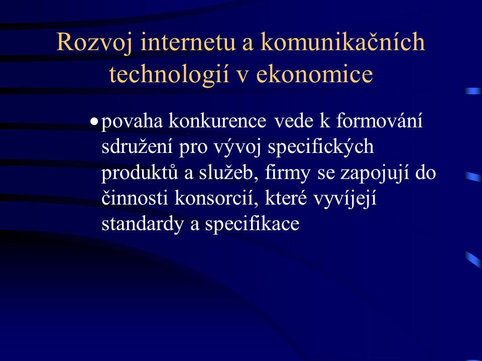 Rozvoj internetu a komunikačních technologií v ekonomice  povaha konkurence vede k formování sdružení pro vývoj specifických produktů a služeb, firmy