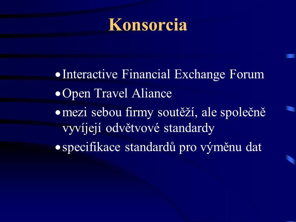 Konsorcia  Interactive Financial Exchange Forum  Open Travel Aliance  mezi sebou firmy soutěží, ale společně vyvíjejí odvětvové standardy  specifi