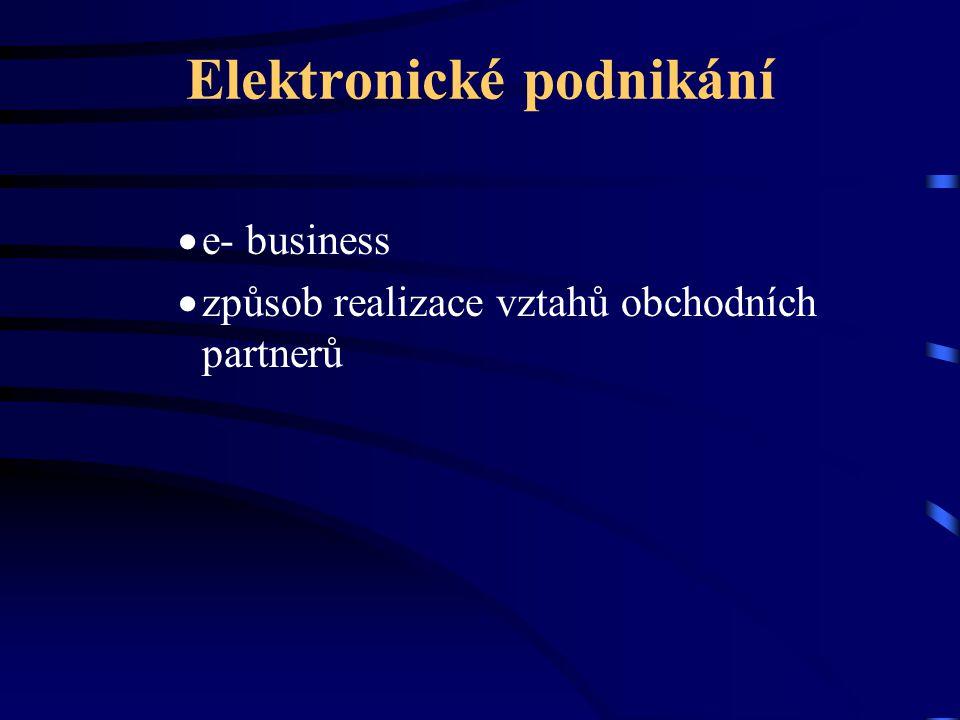 Elektronické podnikání  e- business  způsob realizace vztahů obchodních partnerů