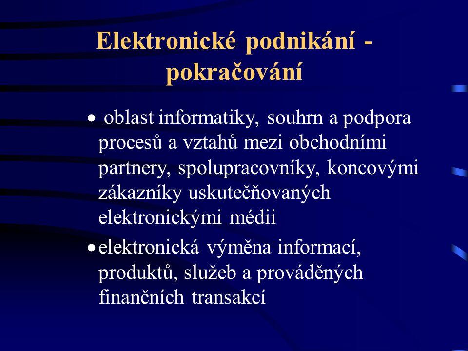 Elektronické podnikání - pokračování  oblast informatiky, souhrn a podpora procesů a vztahů mezi obchodními partnery, spolupracovníky, koncovými záka