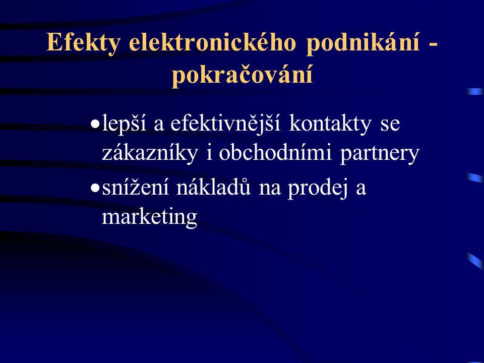 Efekty elektronického podnikání - pokračování  lepší a efektivnější kontakty se zákazníky i obchodními partnery  snížení nákladů na prodej a marketi