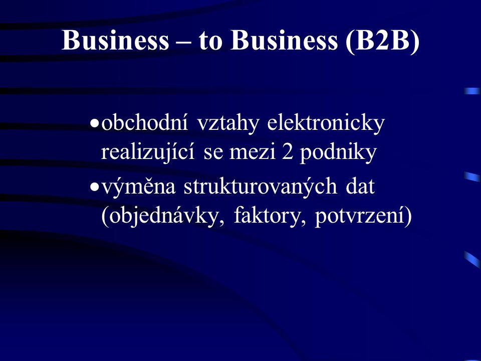 Business – to Business (B2B)  obchodní vztahy elektronicky realizující se mezi 2 podniky  výměna strukturovaných dat (objednávky, faktory, potvrzení