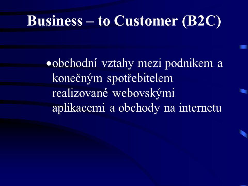 Business – to Customer (B2C)  obchodní vztahy mezi podnikem a konečným spotřebitelem realizované webovskými aplikacemi a obchody na internetu