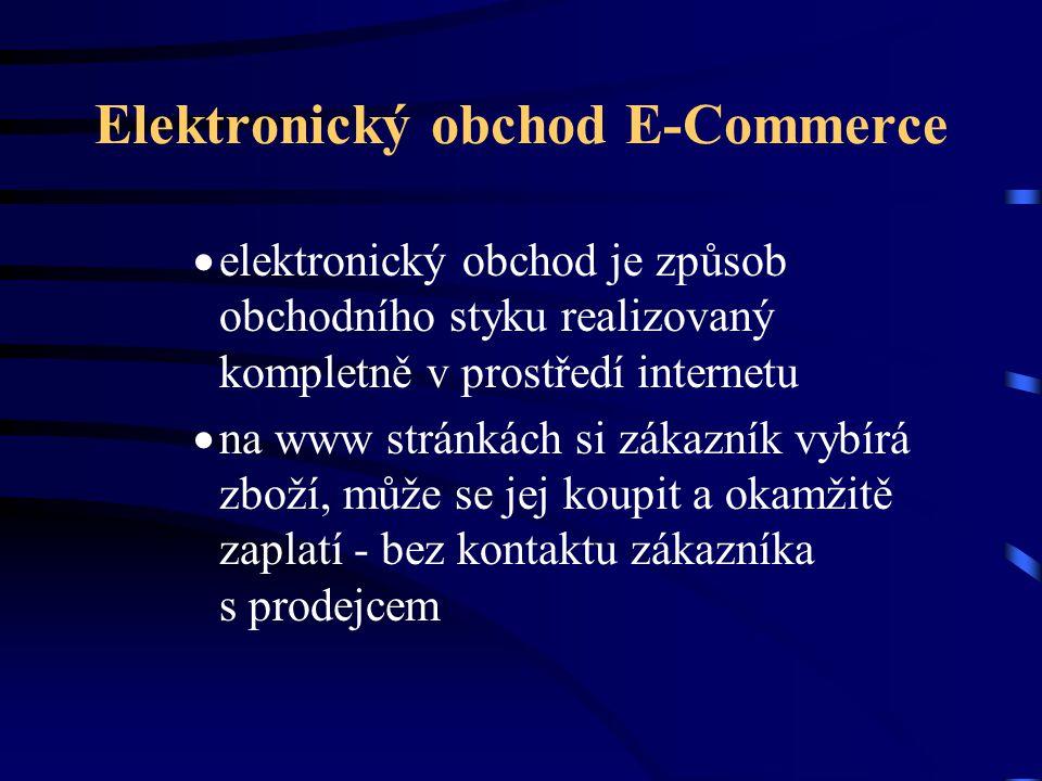 Elektronický obchod E-Commerce  elektronický obchod je způsob obchodního styku realizovaný kompletně v prostředí internetu  na www stránkách si záka