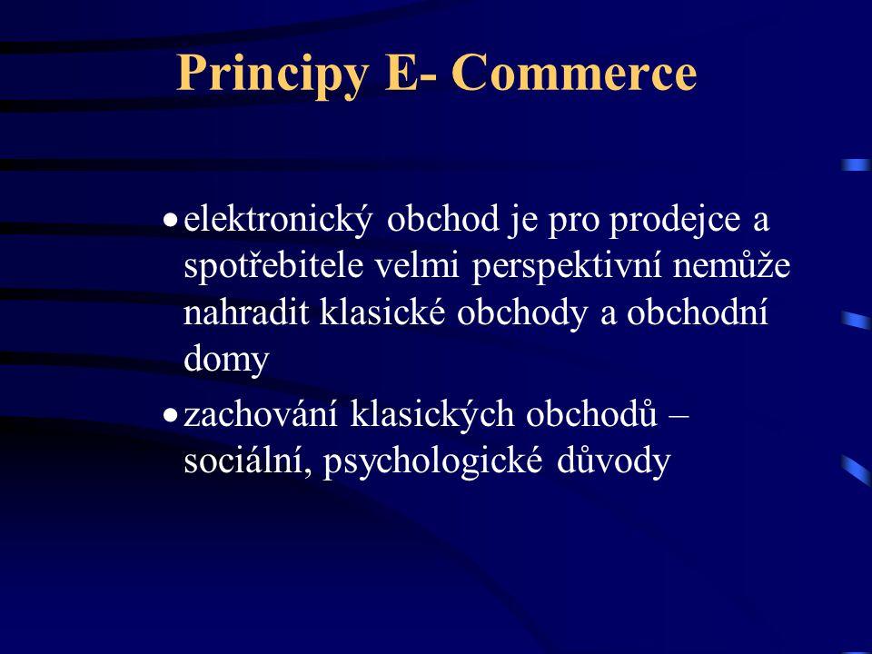 Principy E- Commerce  elektronický obchod je pro prodejce a spotřebitele velmi perspektivní nemůže nahradit klasické obchody a obchodní domy  zachov