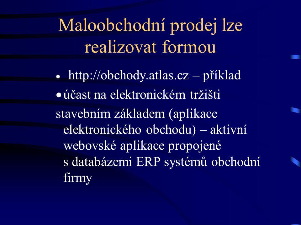 Maloobchodní prodej lze realizovat formou  http://obchody.atlas.cz – příklad  účast na elektronickém tržišti stavebním základem (aplikace elektronic