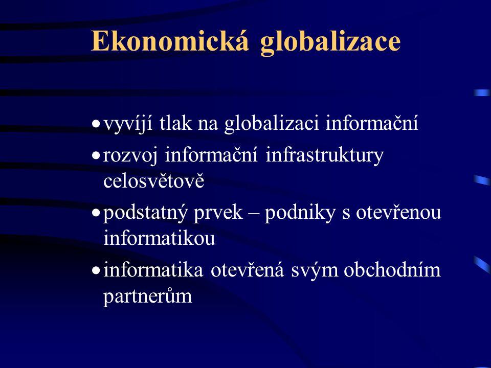 Ekonomická globalizace  vyvíjí tlak na globalizaci informační  rozvoj informační infrastruktury celosvětově  podstatný prvek – podniky s otevřenou