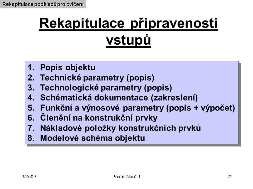 9/2009Přednáška č. 122 Rekapitulace připravenosti vstupů 1.Popis objektu 2.Technické parametry (popis) 3.Technologické parametry (popis) 4.Schématická