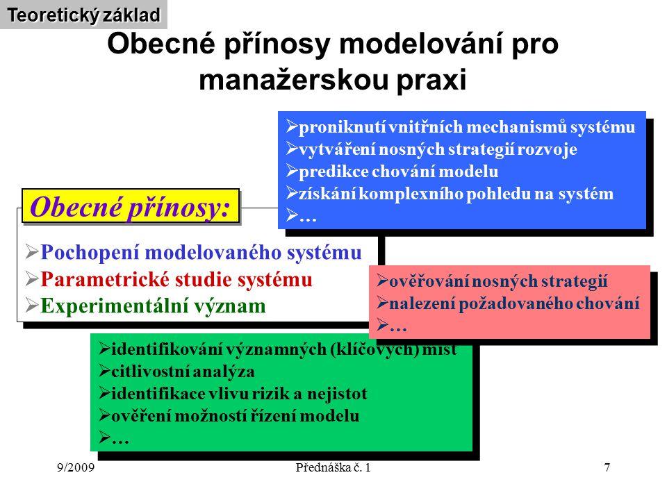 9/2009Přednáška č. 17 Obecné přínosy modelování pro manažerskou praxi  Pochopení modelovaného systému  Parametrické studie systému  Experimentální
