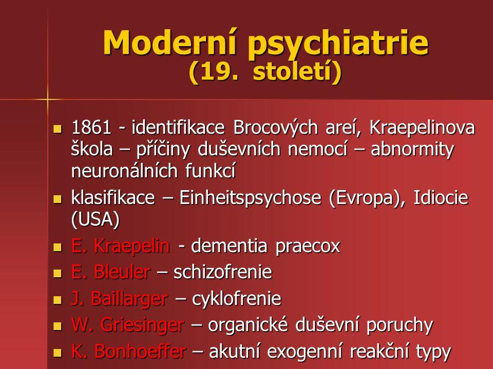 Moderní psychiatrie (19. století) 1861 - identifikace Brocových areí, Kraepelinova škola – příčiny duševních nemocí – abnormity neuronálních funkcí 18