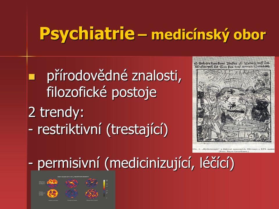Psychiatrie – medicínský obor přírodovědné znalosti, filozofické postoje přírodovědné znalosti, filozofické postoje 2 trendy: - restriktivní (trestají