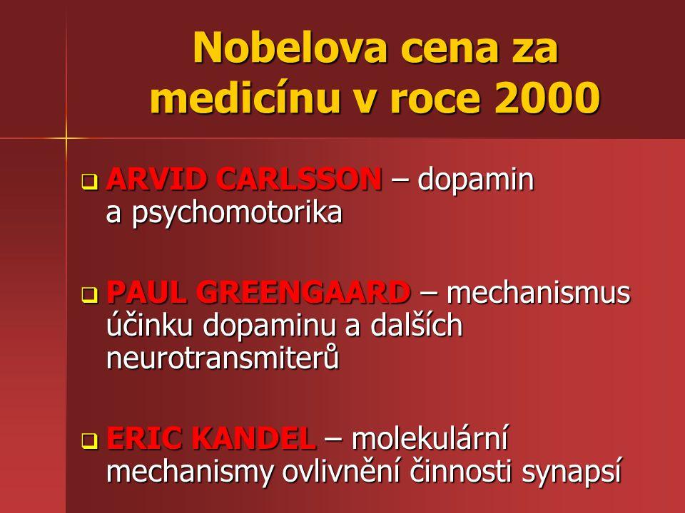 Nobelova cena za medicínu v roce 2000  ARVID CARLSSON – dopamin a psychomotorika  PAUL GREENGAARD – mechanismus účinku dopaminu a dalších neurotrans
