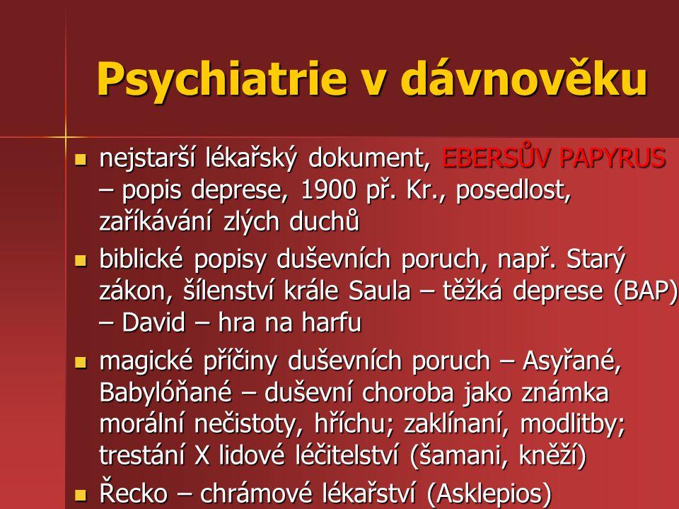 Psychiatrie v dávnověku nejstarší lékařský dokument, EBERSŮV PAPYRUS – popis deprese, 1900 př. Kr., posedlost, zaříkávání zlých duchů nejstarší lékařs