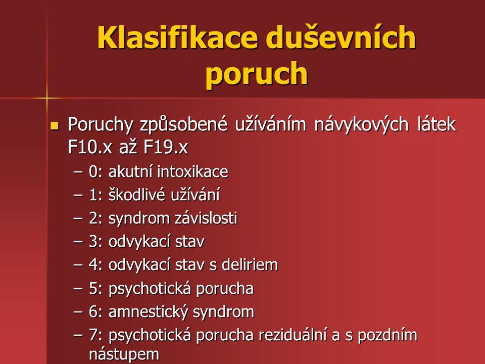 Klasifikace duševních poruch Poruchy způsobené užíváním návykových látek F10.x až F19.x Poruchy způsobené užíváním návykových látek F10.x až F19.x –0: