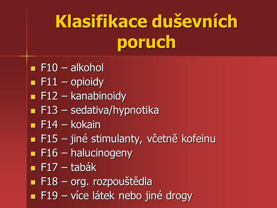 Klasifikace duševních poruch F10 – alkohol F10 – alkohol F11 – opioidy F11 – opioidy F12 – kanabinoidy F12 – kanabinoidy F13 – sedativa/hypnotika F13