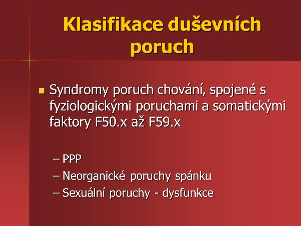 Klasifikace duševních poruch Syndromy poruch chování' spojené s fyziologickými poruchami a somatickými faktory F50.x až F59.x Syndromy poruch chování'