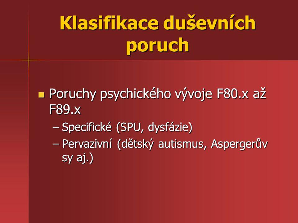 Klasifikace duševních poruch Poruchy psychického vývoje F80.x až F89.x Poruchy psychického vývoje F80.x až F89.x –Specifické (SPU, dysfázie) –Pervaziv