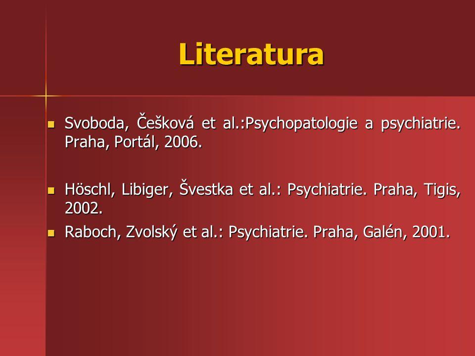 Literatura Svoboda, Češková et al.:Psychopatologie a psychiatrie. Praha, Portál, 2006. Svoboda, Češková et al.:Psychopatologie a psychiatrie. Praha, P
