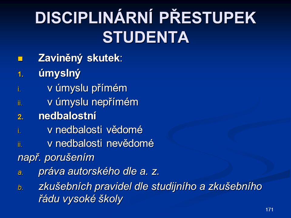 171 DISCIPLINÁRNÍ PŘESTUPEK STUDENTA Zaviněný skutek: Zaviněný skutek: 1.
