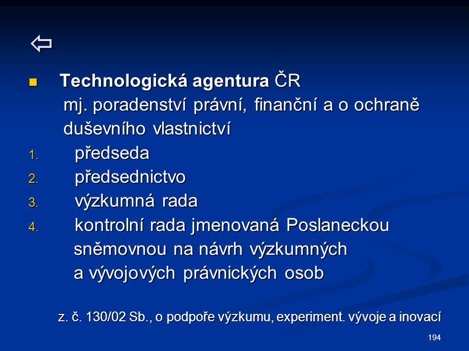 194  Technologická agentura ČR Technologická agentura ČR mj. poradenství právní, finanční a o ochraně mj. poradenství právní, finanční a o ochraně du