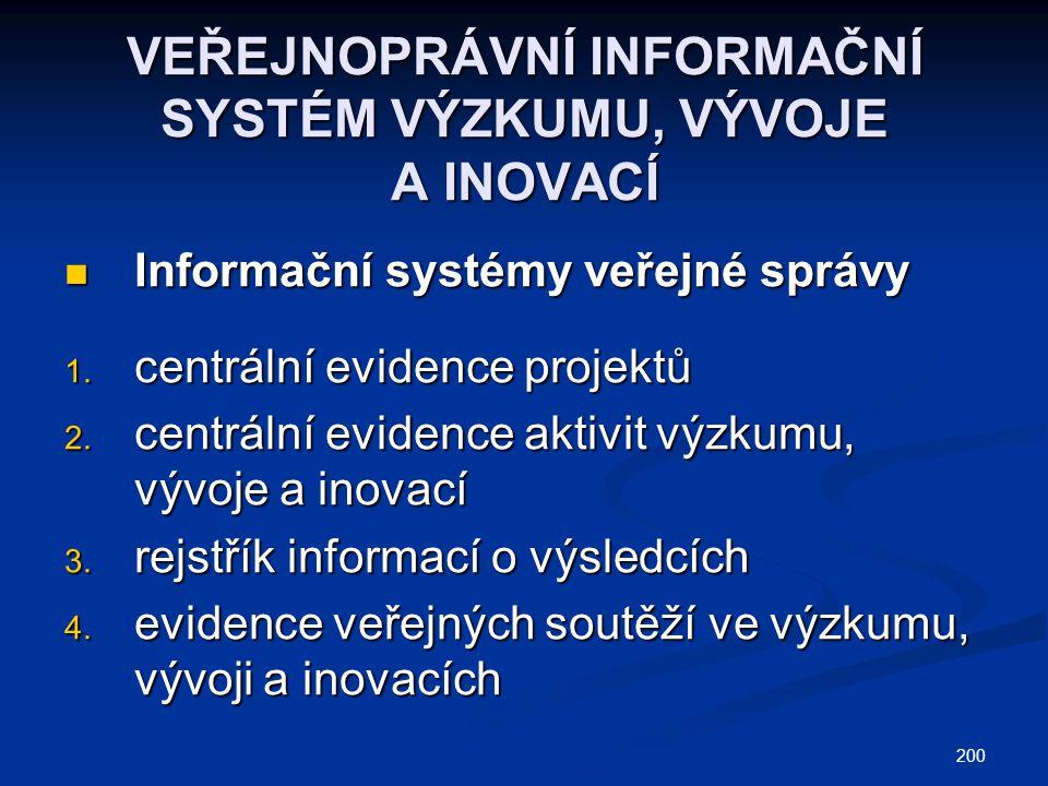 200 VEŘEJNOPRÁVNÍ INFORMAČNÍ SYSTÉM VÝZKUMU, VÝVOJE A INOVACÍ Informační systémy veřejné správy Informační systémy veřejné správy 1.