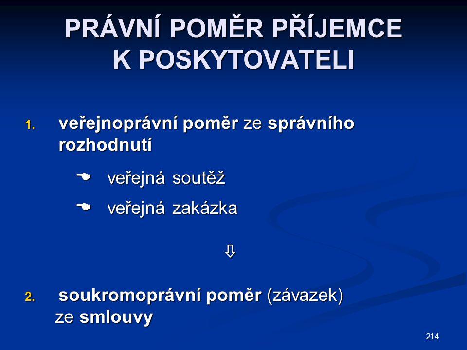 214 PRÁVNÍ POMĚR PŘÍJEMCE K POSKYTOVATELI 1.