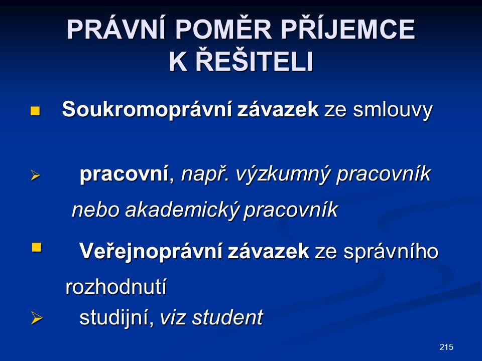 215 PRÁVNÍ POMĚR PŘÍJEMCE K ŘEŠITELI Soukromoprávní závazek ze smlouvy Soukromoprávní závazek ze smlouvy  pracovní, např.