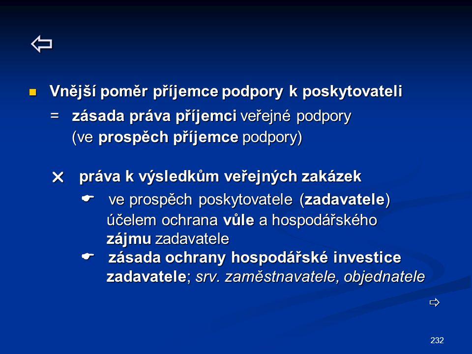 232  Vnější poměr příjemce podpory k poskytovateli Vnější poměr příjemce podpory k poskytovateli = zásada práva příjemci veřejné podpory = zásada práva příjemci veřejné podpory (ve prospěch příjemce podpory) (ve prospěch příjemce podpory)  práva k výsledkům veřejných zakázek  práva k výsledkům veřejných zakázek  ve prospěch poskytovatele (zadavatele)  ve prospěch poskytovatele (zadavatele) účelem ochrana vůle a hospodářského účelem ochrana vůle a hospodářského zájmu zadavatele zájmu zadavatele  zásada ochrany hospodářské investice  zásada ochrany hospodářské investice zadavatele; srv.