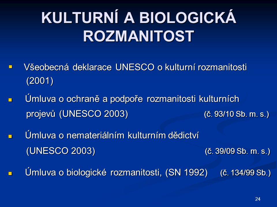 24 KULTURNÍ A BIOLOGICKÁ ROZMANITOST  Všeobecná deklarace UNESCO o kulturní rozmanitosti (2001) (2001) Úmluva o ochraně a podpoře rozmanitosti kulturních Úmluva o ochraně a podpoře rozmanitosti kulturních projevů (UNESCO 2003) (č.