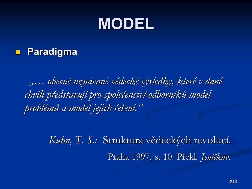 """243 MODEL Paradigma Paradigma """"… obecně uznávané vědecké výsledky, které v dané chvíli představují pro společenství odborníků model problémů a model jejich řešení. """"… obecně uznávané vědecké výsledky, které v dané chvíli představují pro společenství odborníků model problémů a model jejich řešení. Kuhn, T."""