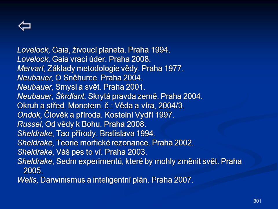301  Lovelock, Gaia, živoucí planeta. Praha 1994. Lovelock, Gaia vrací úder. Praha 2008. Mervart, Základy metodologie vědy. Praha 1977. Neubauer, O S