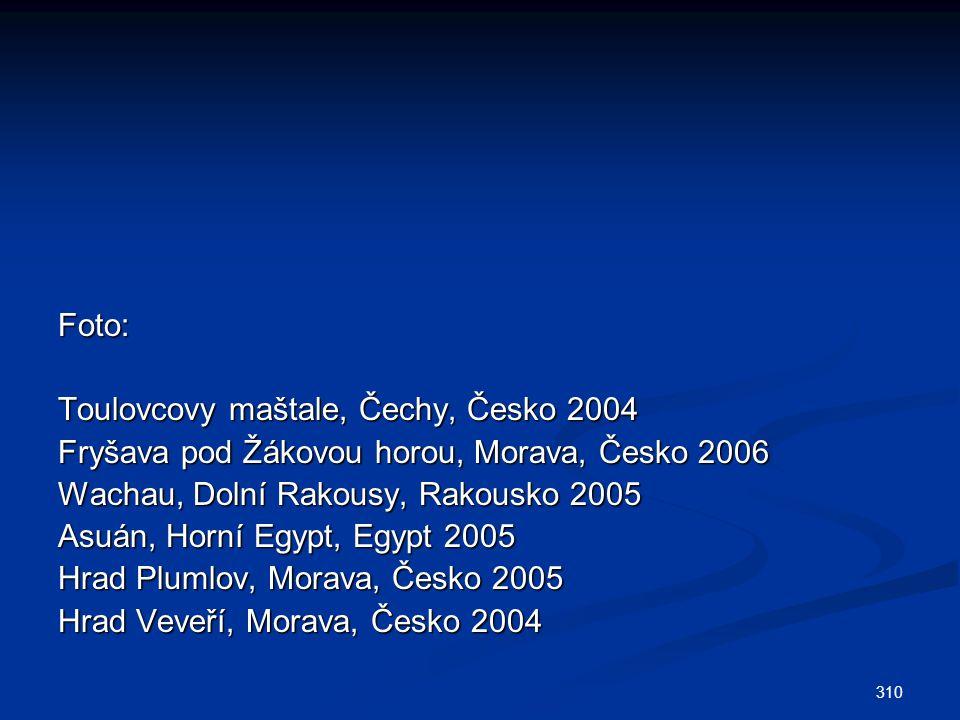 310 Foto: Toulovcovy maštale, Čechy, Česko 2004 Fryšava pod Žákovou horou, Morava, Česko 2006 Wachau, Dolní Rakousy, Rakousko 2005 Asuán, Horní Egypt, Egypt 2005 Hrad Plumlov, Morava, Česko 2005 Hrad Veveří, Morava, Česko 2004