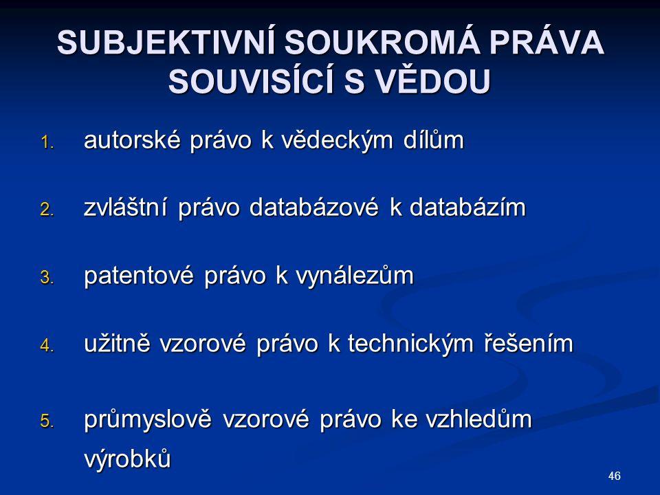 46 SUBJEKTIVNÍ SOUKROMÁ PRÁVA SOUVISÍCÍ S VĚDOU 1.