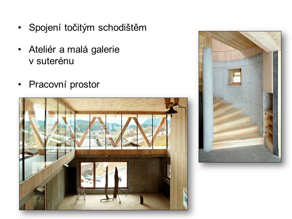 Spojení točitým schodištěm Ateliér a malá galerie v suterénu Pracovní prostor