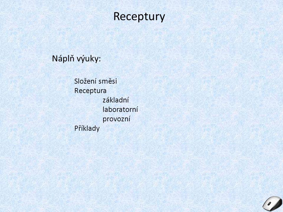 Receptury Náplň výuky: Složení směsi Receptura základní laboratorní provozní Příklady