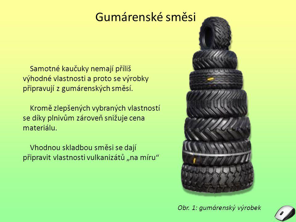 Gumárenské směsi Samotné kaučuky nemají příliš výhodné vlastnosti a proto se výrobky připravují z gumárenských směsí. Kromě zlepšených vybraných vlast