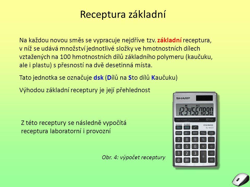 Receptura základní Na každou novou směs se vypracuje nejdříve tzv. základní receptura, v níž se udává množství jednotlivé složky ve hmotnostních dílec