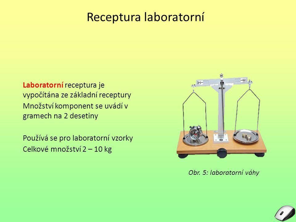 Receptura laboratorní Laboratorní receptura je vypočítána ze základní receptury Množství komponent se uvádí v gramech na 2 desetiny Používá se pro lab